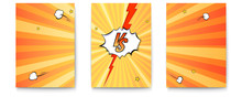 Set Of Posters With Logo Of Versus On Expressive Background In Comic Book Style. Letters VS On Explosions Bubbles And Rays. Vintage Pop Art Banner For Challenge Or Contest. Vector Poster For Superhero