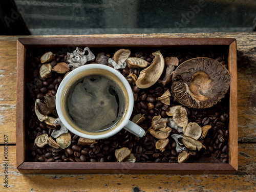 ariel view of a cup of black coffee on decoration wood tray Canvas Print