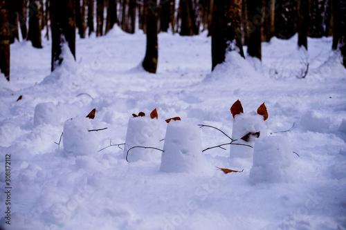 Obraz na plátne 林で見つけた可愛らしいバケツ雪像