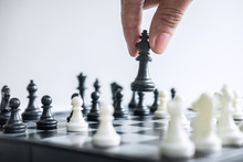 Business Woman Playing Chess And Thinking Strategy About Crash Overthrow The Opposite Team And Development Analysis For Win And Successful