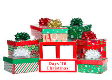 Countdown To Christmas. Blank Blocks Counting Down Days Until Christmas, White Wood Blocks In A Red Box With Presents Stacked  Around It Isolated On A White Background. You Fill In Numbers.