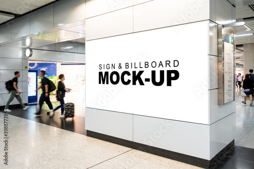 Fototapeta Mock up large horizontal billboard at walkway in building obraz
