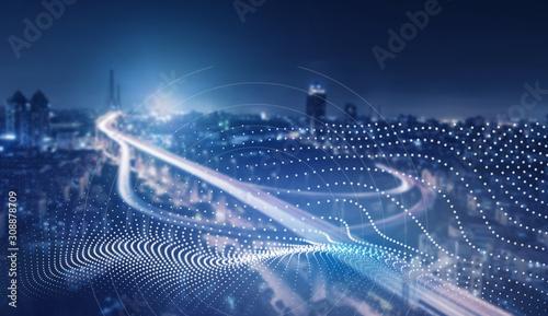 future creative technology network city background