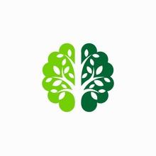 Brain Logo That Formed Tree Silhouette