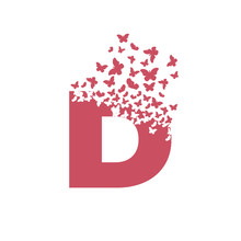 Letter D With Effect Of Destruction. Dispersion. Butterfly, Moth