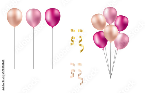 Photo Bunch of balloons in realistic style vector isolated on white background