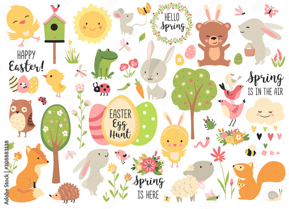 Fototapeta Spring and Easter collection of cute animals, flowers and decorations. Perfect for poster, card, scrapbooking , tag, invitation, sticker kit. Hand drawn vector illustration.