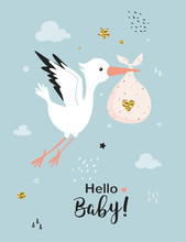 Baby Shower Card With Stork. B...
