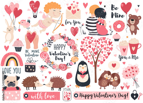 Foto Valentine day set - cute cupid, rabbit, bear, hedgehog, wreath and hearts