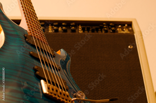 Guitar and amp in a blur Canvas Print