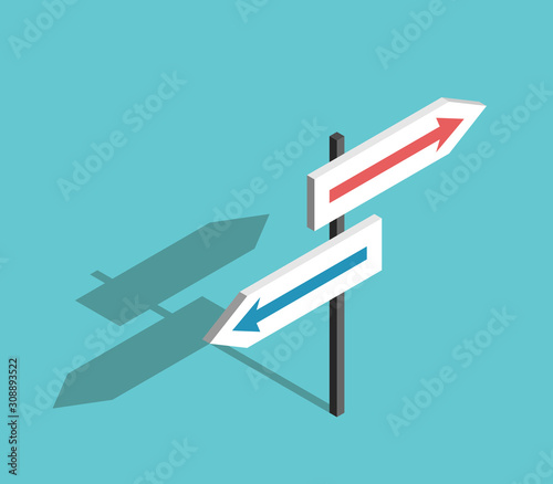 Obraz Two directions isometric sign - fototapety do salonu