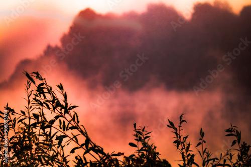 Foto auf Leinwand Kastanienbraun Ukraine, Senkovka in Chernihiv region - 09 30 2018: Ukrainian lake at early morning