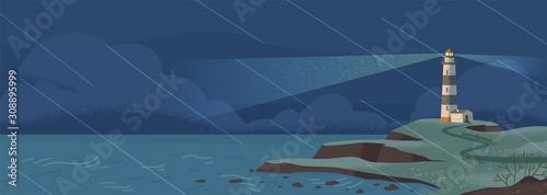 Lighthouse on seashore at rainy night flat vector illustration Wallpaper Mural