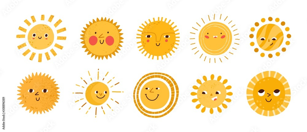 Fototapeta Cute sun flat vector illustrations set. Yellow childish sunny emoticons collection. Smiling sun with sunbeams cartoon character isolated on white background. T shirt print design element.