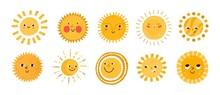 Cute Sun Flat Vector Illustrat...