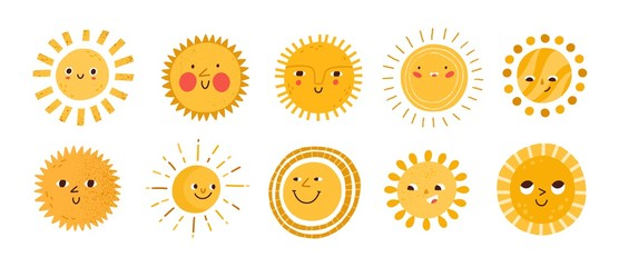Cute sun flat vector illustrations set. Yellow childish sunny emoticons collection. Smiling sun with sunbeams cartoon character isolated on white background. T shirt print design element.