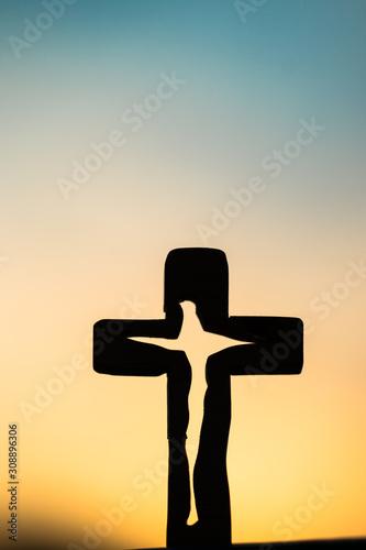 하늘,십자가,석양,노을,cross Fotobehang