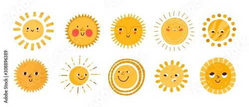 Obraz Cute sun flat vector illustrations set. Yellow childish sunny emoticons collection. Smiling sun with sunbeams cartoon character isolated on white background. T shirt print design element. - fototapety do salonu