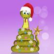 Leinwanddruck Bild - illustration of snake shape Christmas tree
