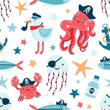 Pirate Marine Animals Flat Vec...
