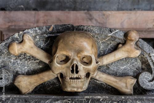 calavera esculpida en piedra de una tumba Canvas Print