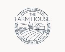 Farm Emblem With Farmhouse, Wh...