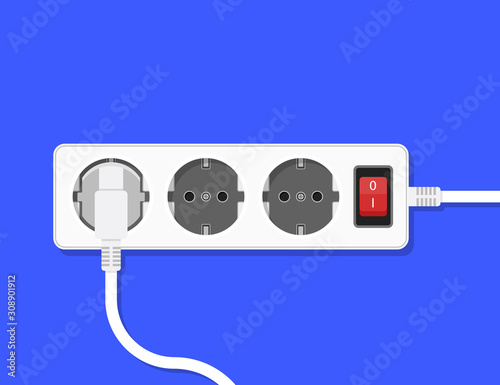 Leinwand Poster Electric extension cord Illustration Vector