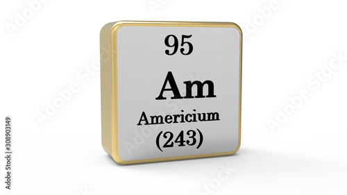 3d Americium Element Sign. Stock image. Canvas Print