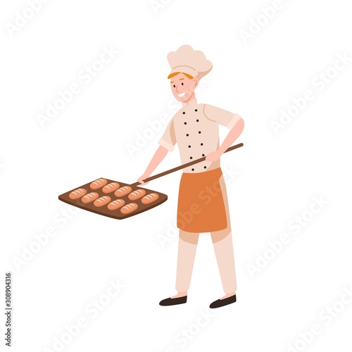 Photographie Smiling male baker baking bread flat vector illustration