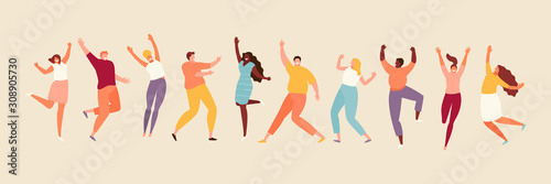 Jumping and dancing happy people. Positive emotions set illustration
