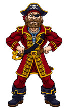 A Pirate Cartoon Character Captain Mascot With Skull And Crossed Bones On His Tricorne Hat, Eye Patch And Hands On Hip In Strong Pose