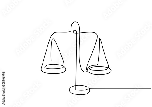 Foto Continuous one line drawing of law weights
