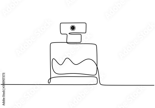 Fototapeta Continuous one line drawing of perfume cosmetic bottle. Minimalism vector isolated on white background. obraz