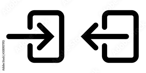 icons sign in and sign out app vector symbol logout and login, arrow and door ic Canvas-taulu