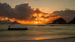 canvas print picture - sunset at Haukland beach