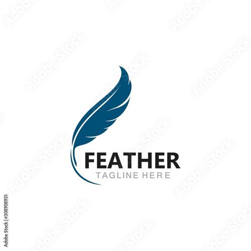 Photo feather logo template vector icon