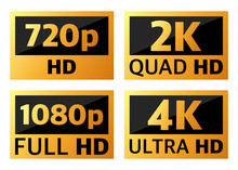 4k Ultrahd , 2k Quadhd , 1080 Fullhd And 720 Hd Dimensions Of Video.
