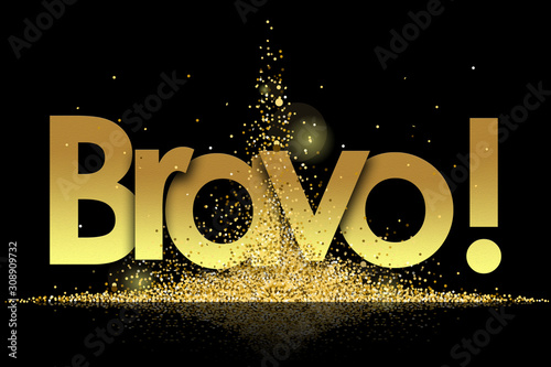 Foto bravo in golden stars and black background