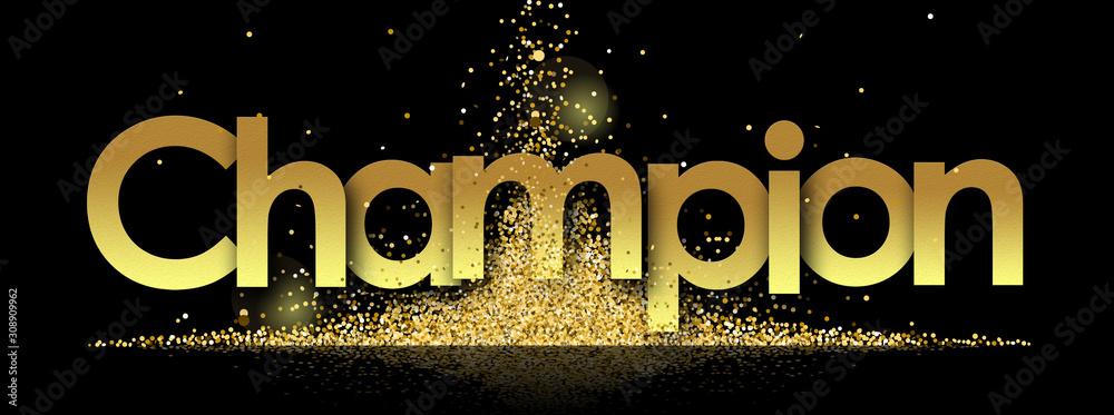Fototapeta Champion in golden stars and black background
