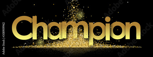 Foto Champion in golden stars and black background