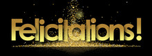Felicitations In Golden Stars And Black Background