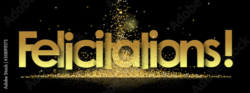 felicitations in golden stars and black background Canvas Print