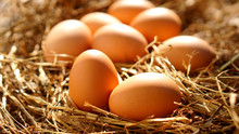 Fresh Brown Eggs In The Nest. ...