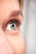 Leinwandbild Motiv Extreme Close Up Of Eye Of Woman Against White Studio Background