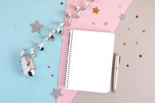 Blank Notebook On Trendy Backg...