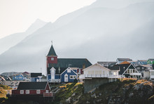 Colourful Little Arctic Town Sisimiut In Greenland,Qeqqata Municipality, Aka Holsteinsborg . Second Largest City In Greenland. Overview Of Port Area And Sisimiut Museum, A Collection Of Historic