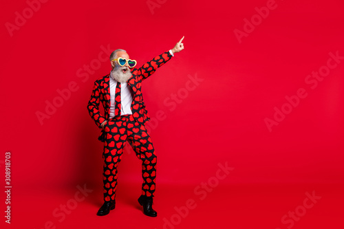 Obraz Full length body size view of his he nice attractive trendy crazy cool cheerful cheery white-haired guy dancing having fun clubbing isolated on bright vivid shine vibrant red color background - fototapety do salonu