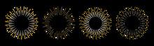 Festive Fireworks. Star Sparkle Sunburst Round Frame Line Set. Merry Christmas. Happy New Year Decoration. Golden Shine Line Burst. Cracker Light. Firecracker Burst. Flat Design. Black Background.