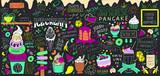 Fototapeta Młodzieżowe - Dessert doodles wall art. Chalkboard huge ice cream vector bundle. Colourful cafe food banner.