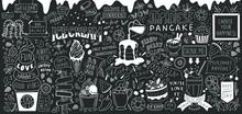 Ice Cream Bar Doodle Art. Dessert Big Set. Line Vector Elements With Lettering.